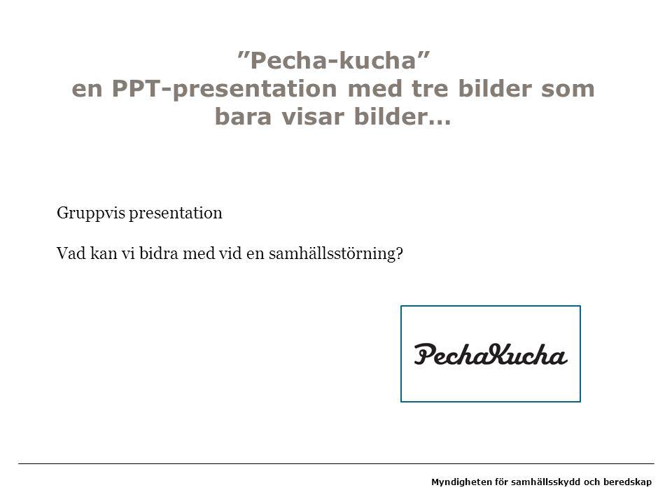 Pecha-kucha en PPT-presentation med tre bilder som bara visar bilder…
