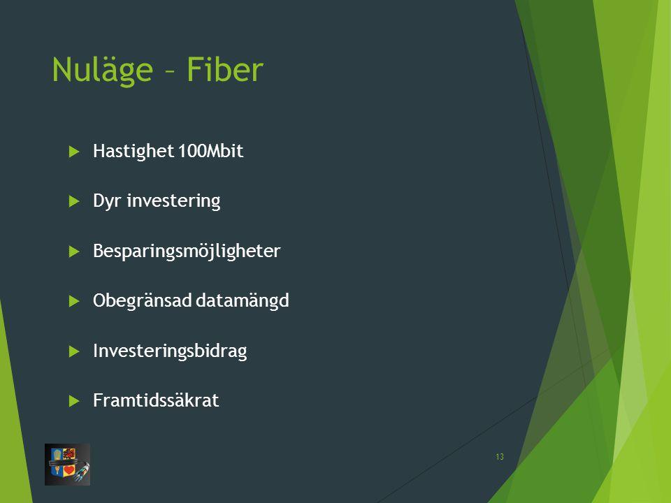 Nuläge – Fiber Hastighet 100Mbit Dyr investering Besparingsmöjligheter