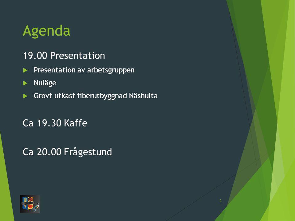 Agenda 19.00 Presentation Ca 19.30 Kaffe Ca 20.00 Frågestund
