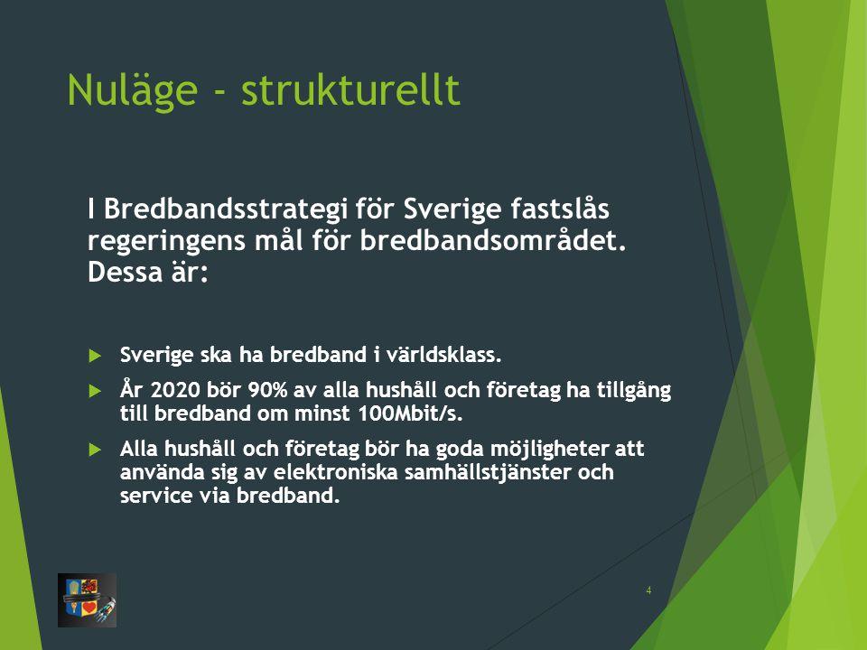 Nuläge - strukturellt I Bredbandsstrategi för Sverige fastslås regeringens mål för bredbandsområdet. Dessa är: