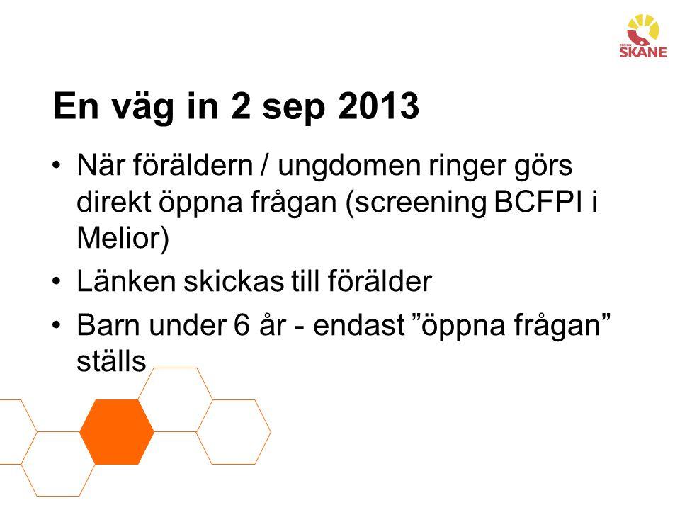 En väg in 2 sep 2013 När föräldern / ungdomen ringer görs direkt öppna frågan (screening BCFPI i Melior)