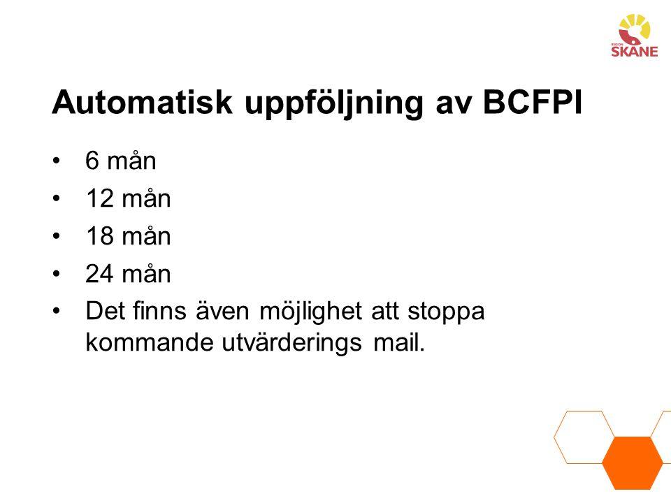 Automatisk uppföljning av BCFPI
