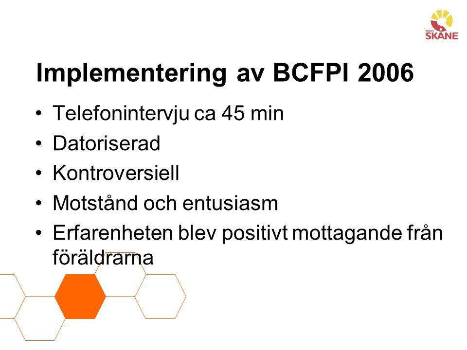 Implementering av BCFPI 2006