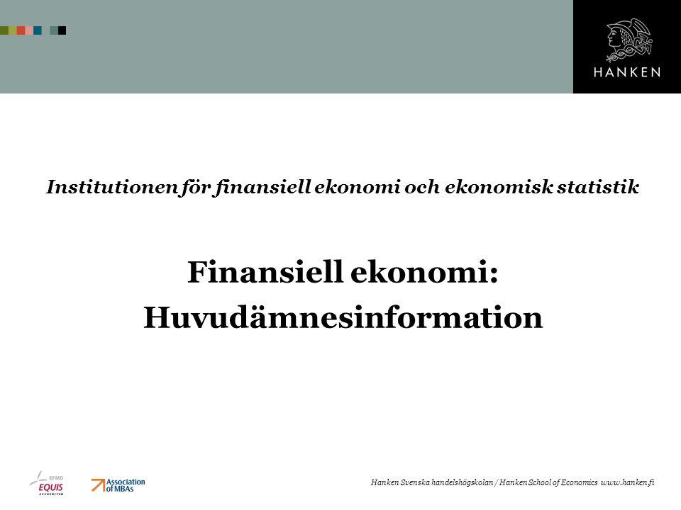 Finansiell ekonomi: Huvudämnesinformation