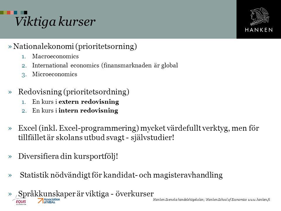 Viktiga kurser Nationalekonomi (prioritetsorning)