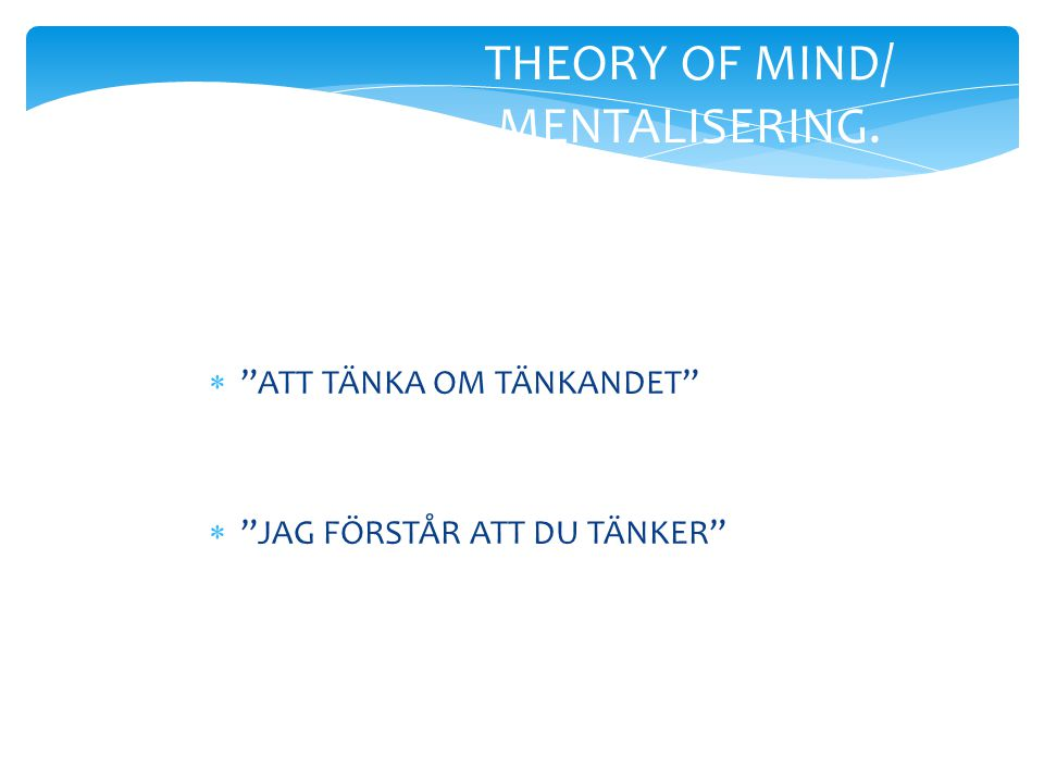 THEORY OF MIND/ MENTALISERING.