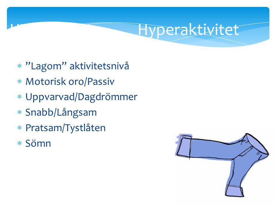 HYP Hyperaktivitet Lagom aktivitetsnivå Motorisk oro/Passiv