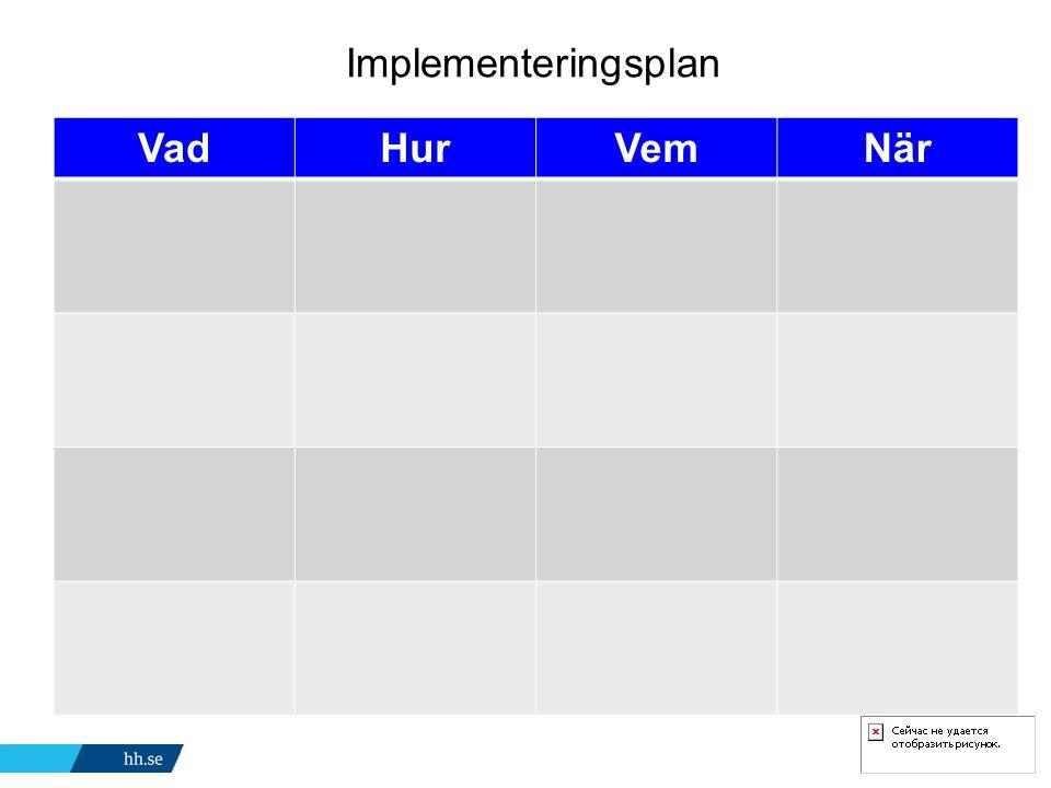 Implementeringsplan Vad Hur Vem När