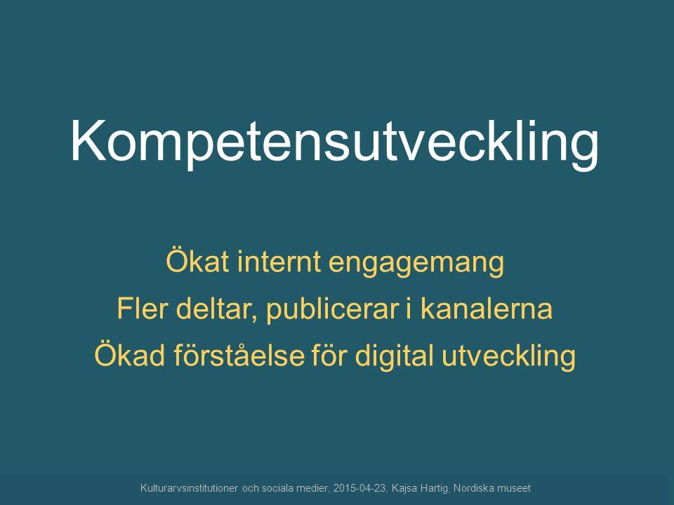 Kompetensutveckling Ökat internt engagemang Fler deltar, publicerar i kanalerna. Ökad förståelse för digital utveckling.