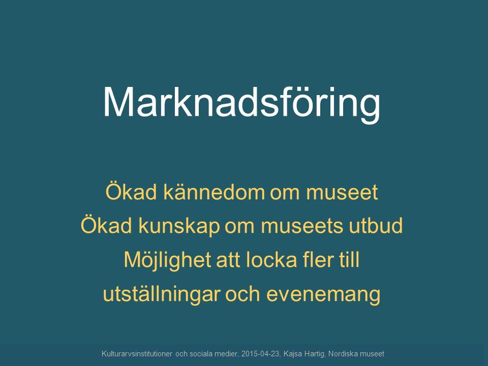 Marknadsföring Ökad kännedom om museet Ökad kunskap om museets utbud