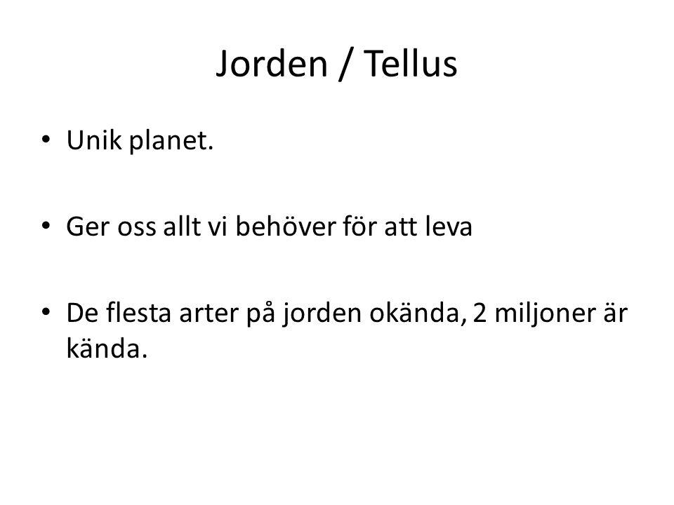 Jorden / Tellus Unik planet. Ger oss allt vi behöver för att leva