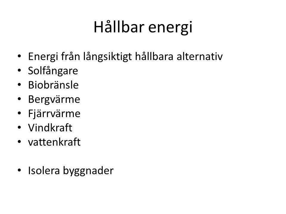 Hållbar energi Energi från långsiktigt hållbara alternativ Solfångare
