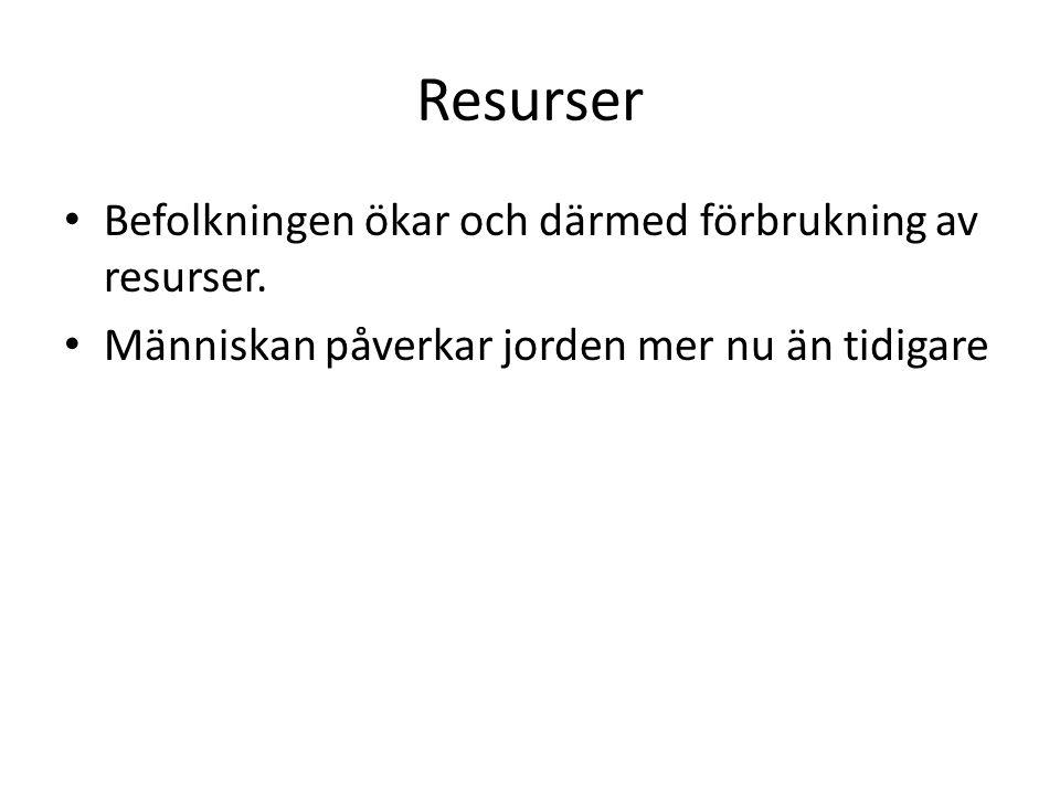 Resurser Befolkningen ökar och därmed förbrukning av resurser.