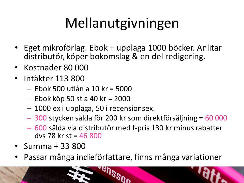 Mellanutgivningen Eget mikroförlag. Ebok + upplaga 1000 böcker. Anlitar distributör, köper bokomslag & en del redigering.