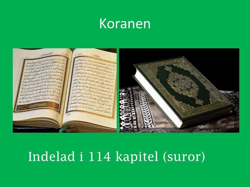 Indelad i 114 kapitel (suror)