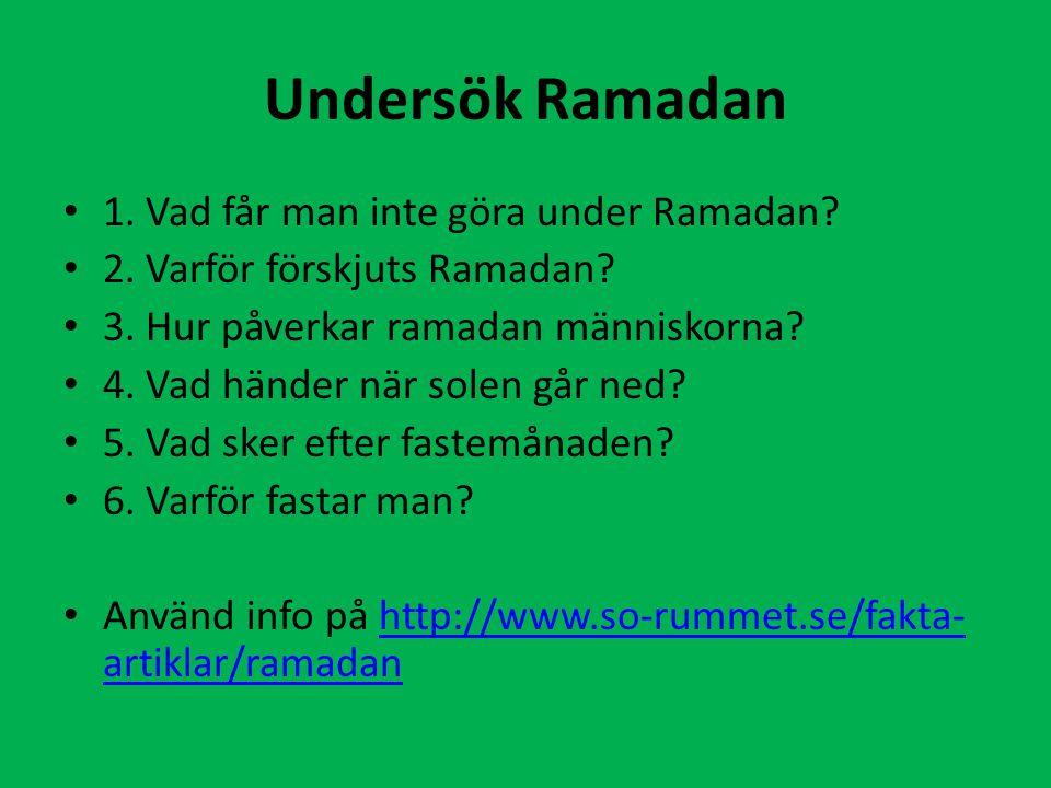 Undersök Ramadan 1. Vad får man inte göra under Ramadan