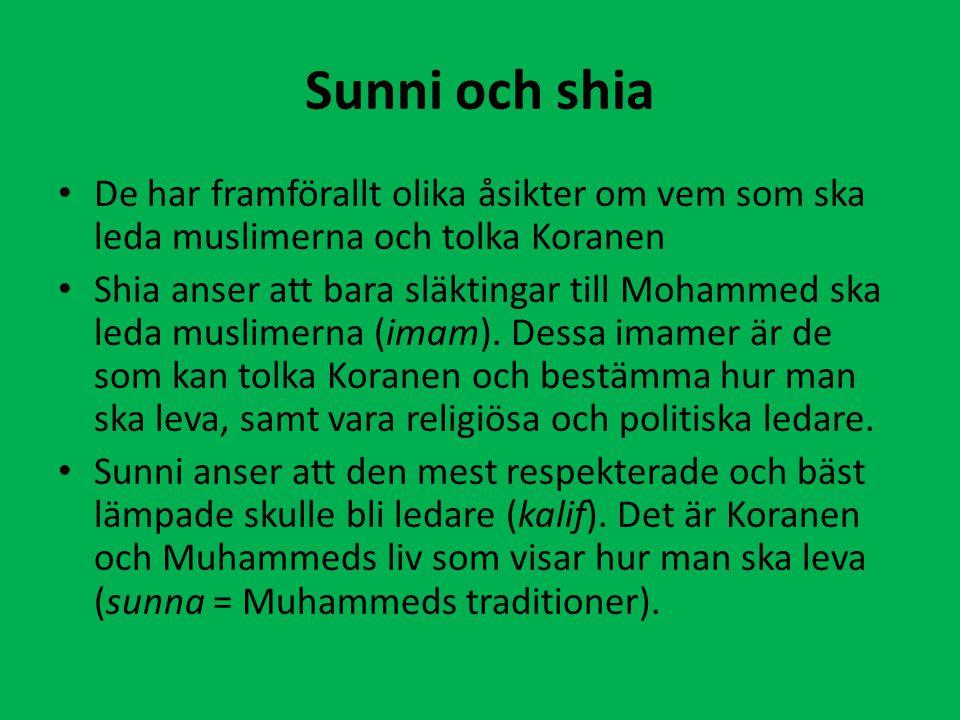 Sunni och shia De har framförallt olika åsikter om vem som ska leda muslimerna och tolka Koranen.