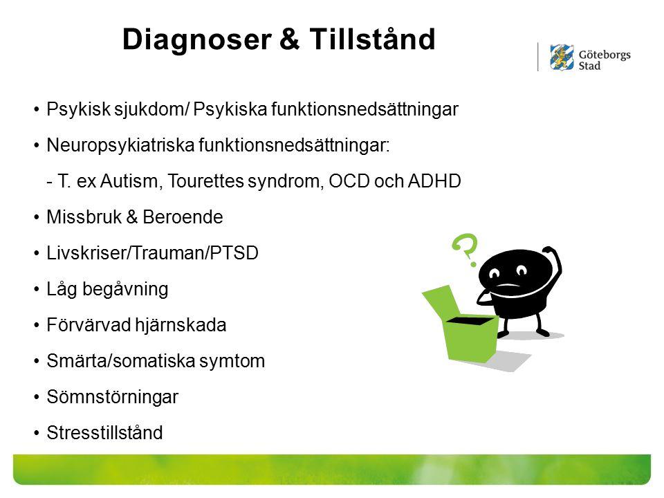 Diagnoser & Tillstånd Psykisk sjukdom/ Psykiska funktionsnedsättningar