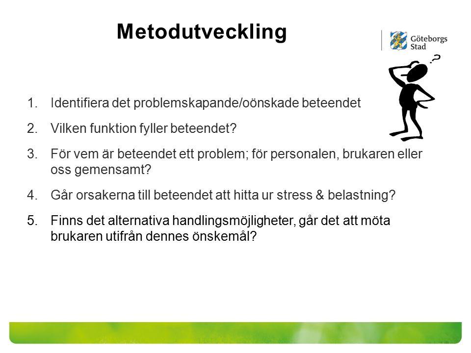 Metodutveckling Identifiera det problemskapande/oönskade beteendet