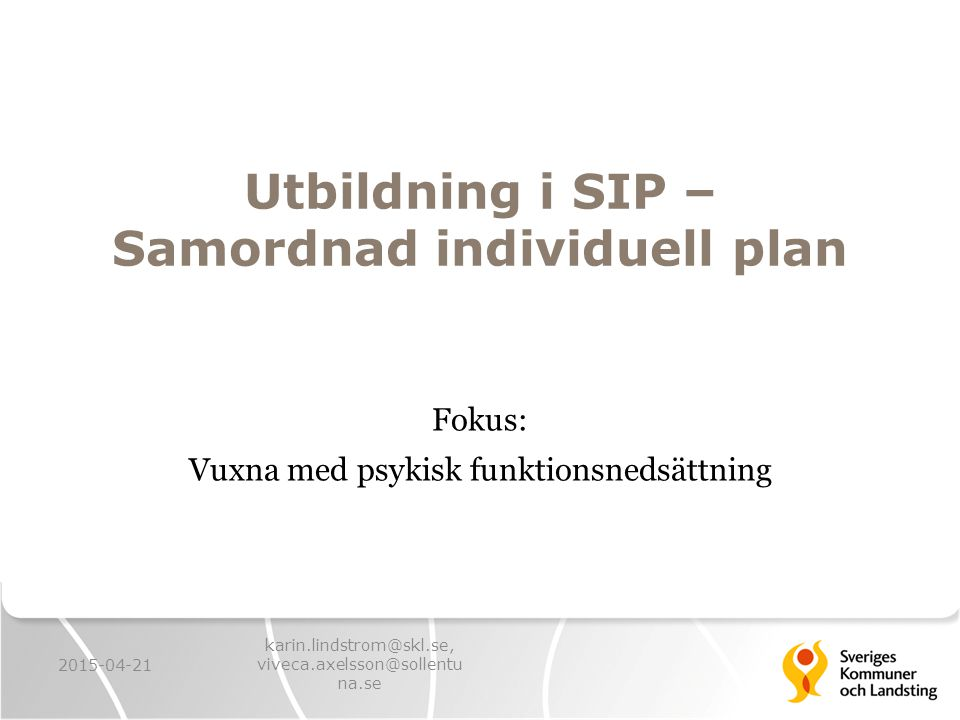 Utbildning i SIP – Samordnad individuell plan