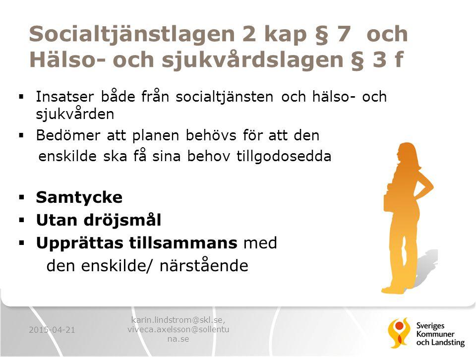 Socialtjänstlagen 2 kap § 7 och Hälso- och sjukvårdslagen § 3 f