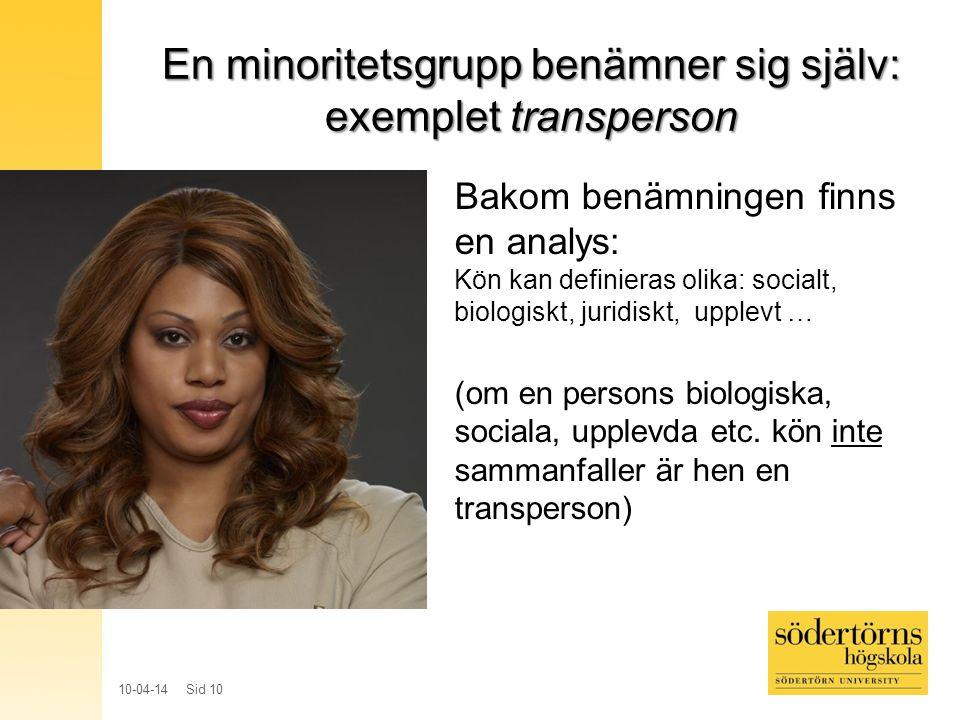 En minoritetsgrupp benämner sig själv: exemplet transperson