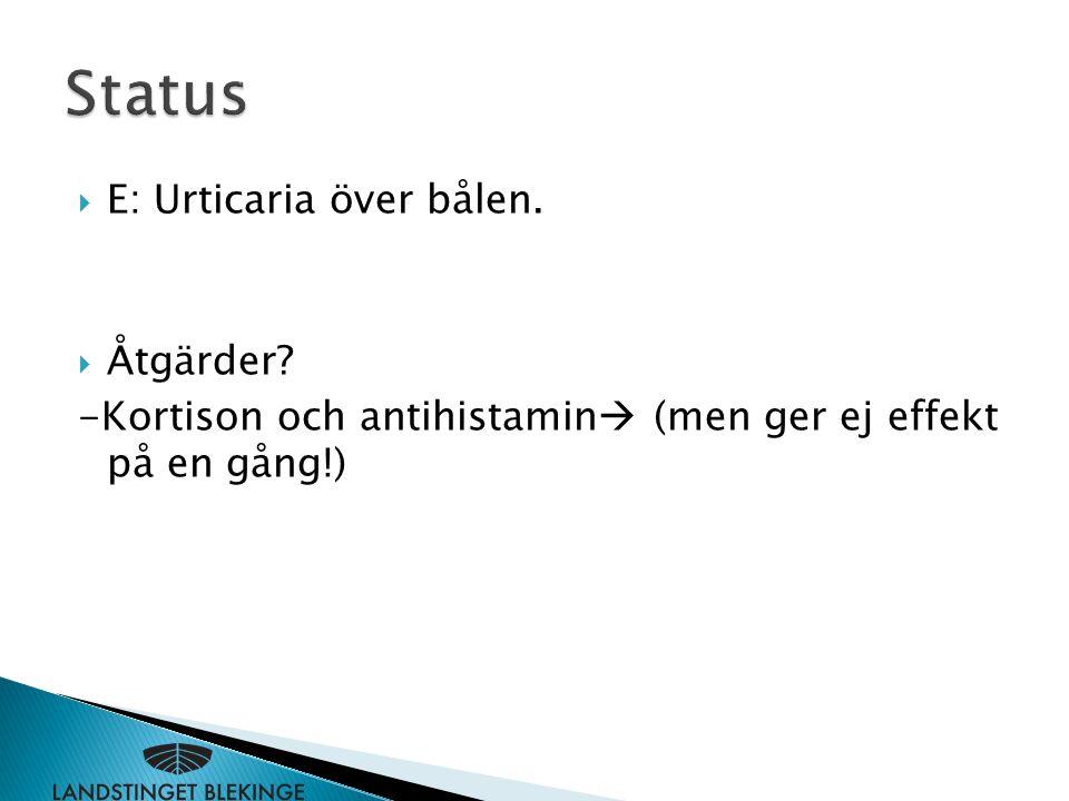Status E: Urticaria över bålen. Åtgärder