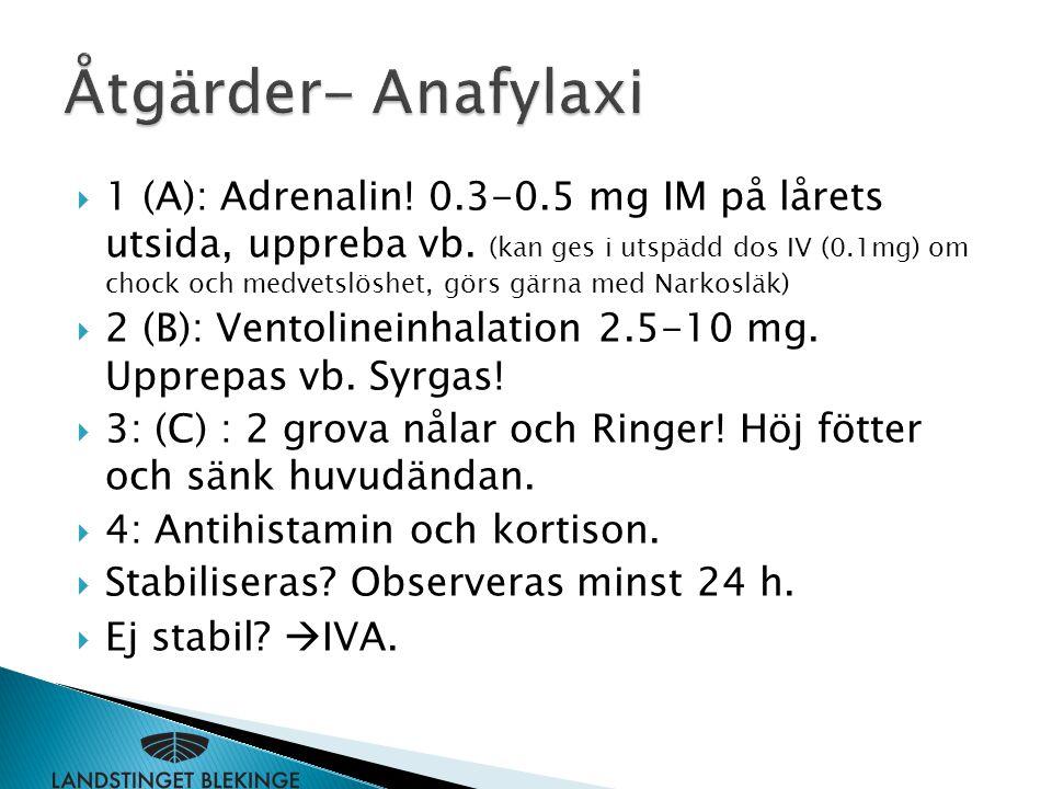 Åtgärder- Anafylaxi
