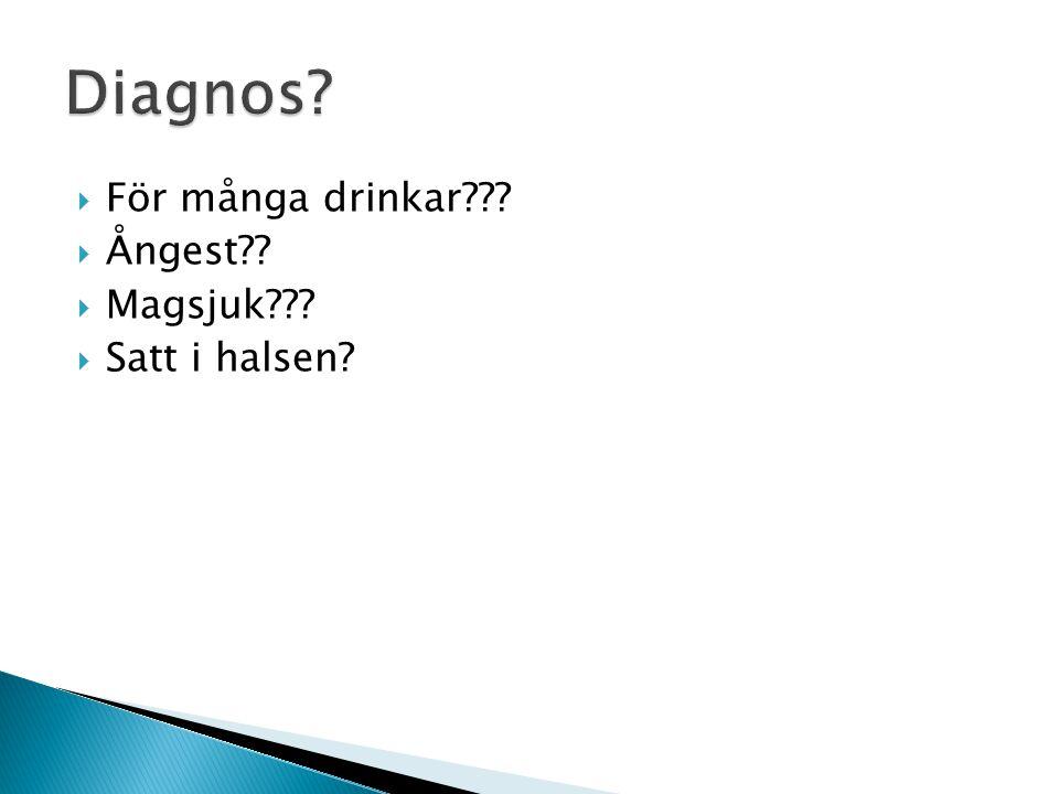 Diagnos För många drinkar Ångest Magsjuk Satt i halsen