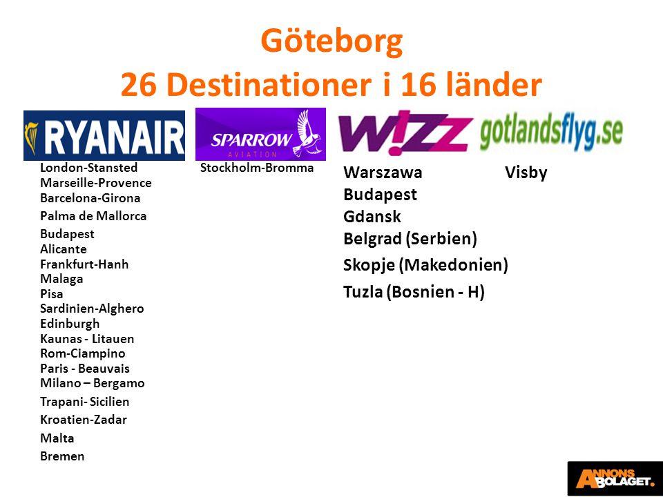 Göteborg 26 Destinationer i 16 länder