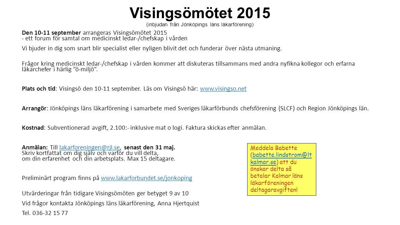 Visingsömötet 2015 (inbjudan från Jönköpings läns läkarförening)