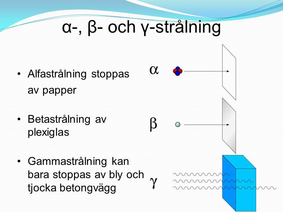 α-, β- och γ-strålning Alfastrålning stoppas av papper