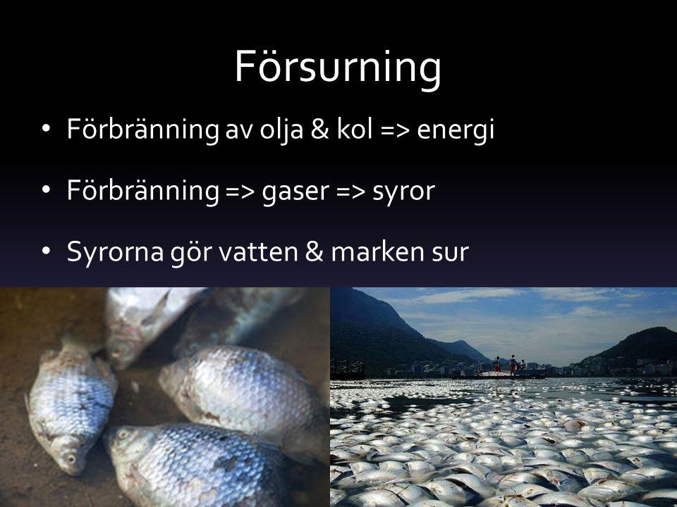 Försurning Förbränning av olja & kol => energi