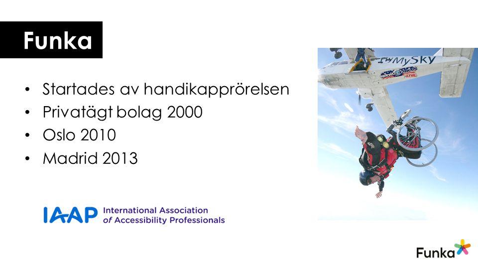 Funka Startades av handikapprörelsen Privatägt bolag 2000 Oslo 2010