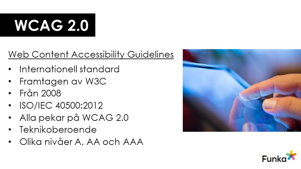 WCAG 2.0 Web Content Accessibility Guidelines Internationell standard