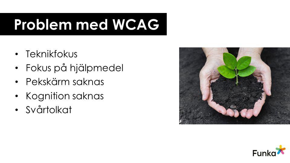 Problem med WCAG Teknikfokus Fokus på hjälpmedel Pekskärm saknas