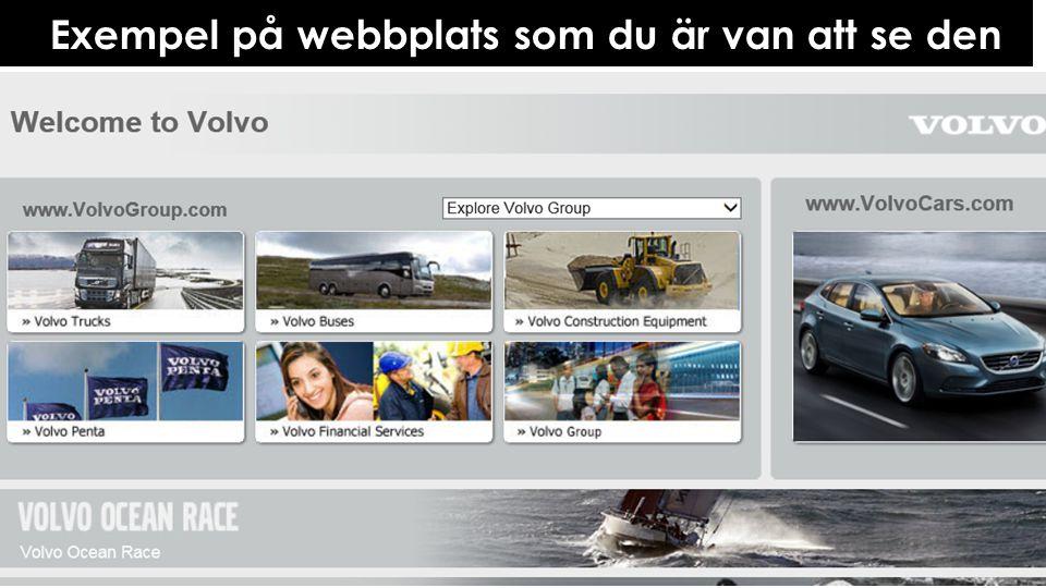 Exempel på webbplats som du är van att se den