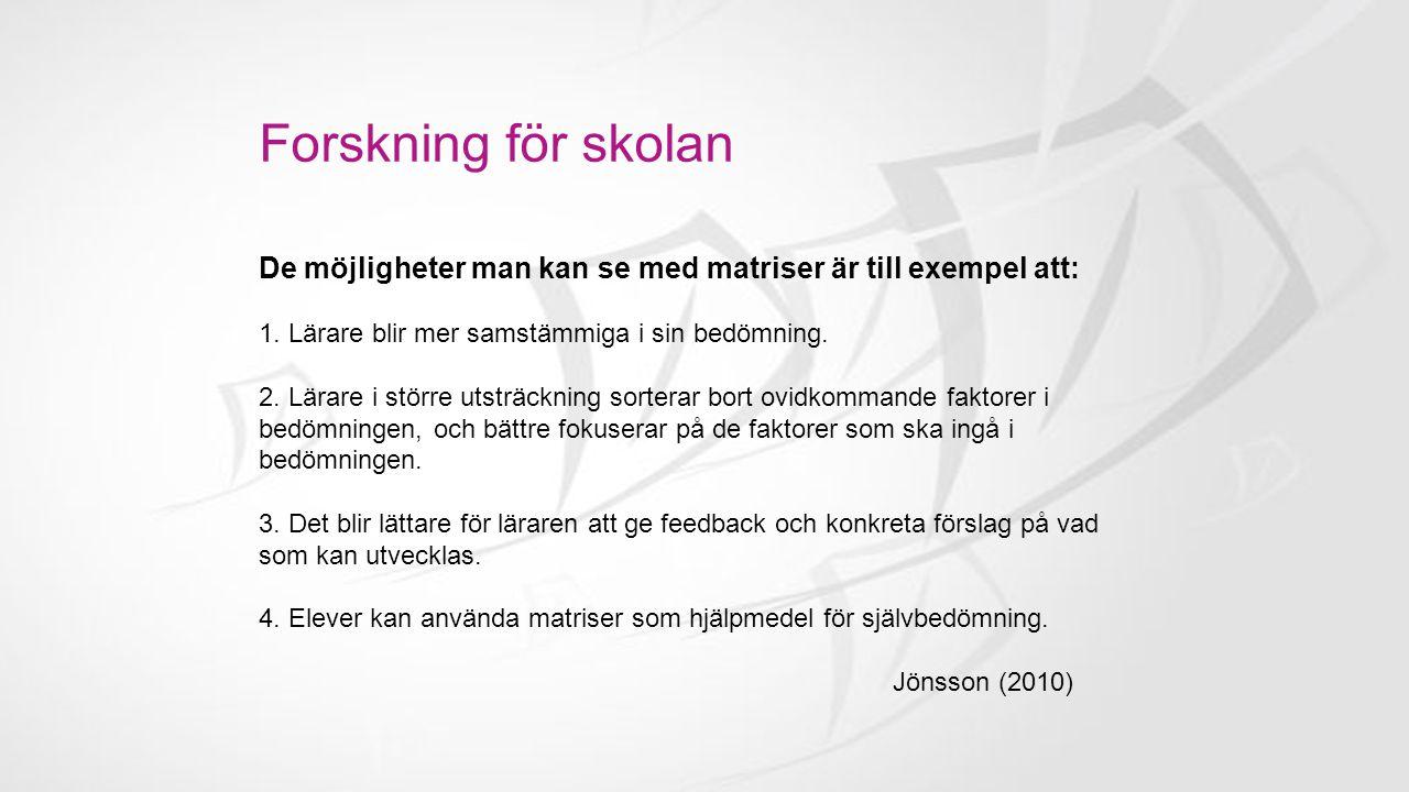Forskning för skolan Anders Jönsson