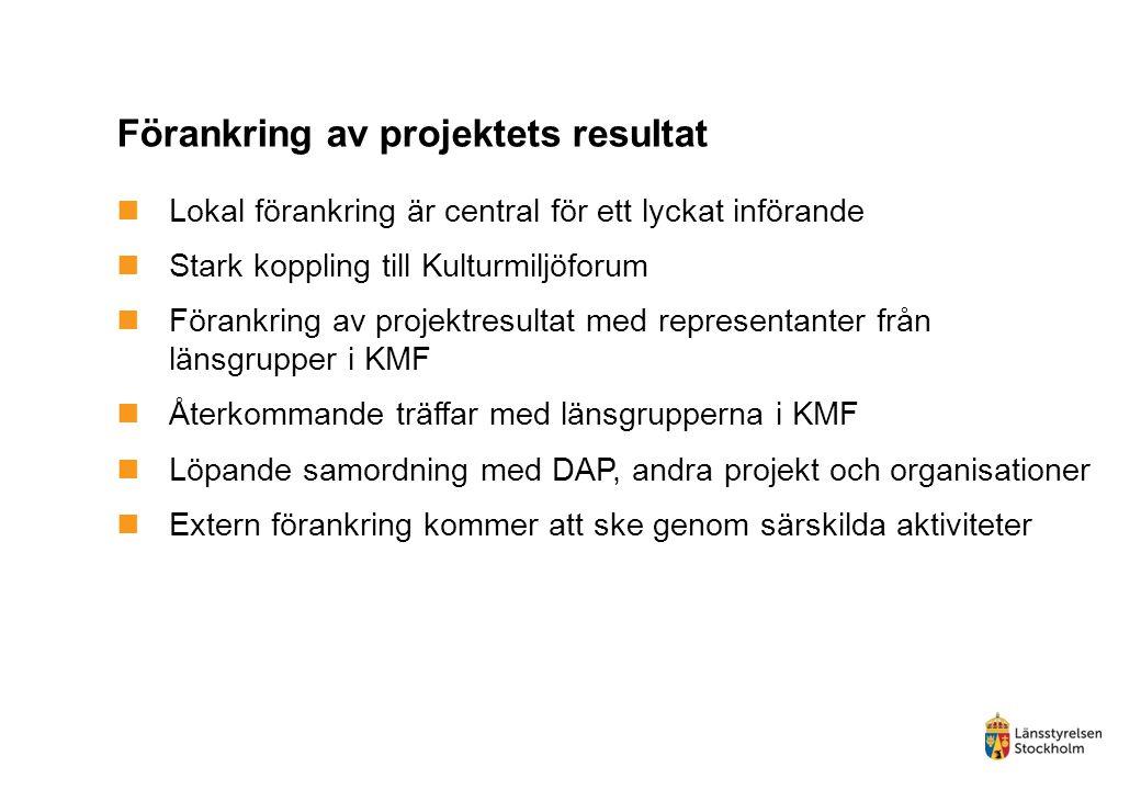 Förankring av projektets resultat