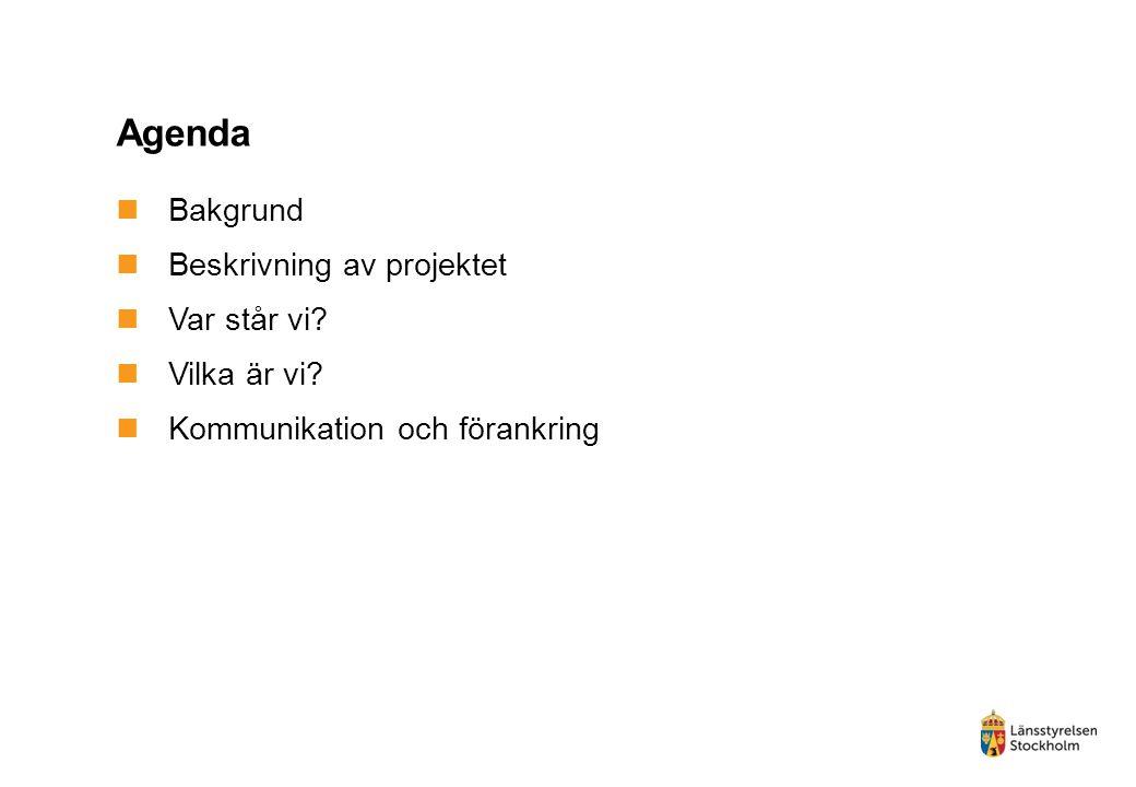 Agenda Bakgrund Beskrivning av projektet Var står vi Vilka är vi