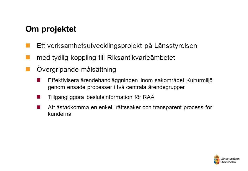 Om projektet Ett verksamhetsutvecklingsprojekt på Länsstyrelsen