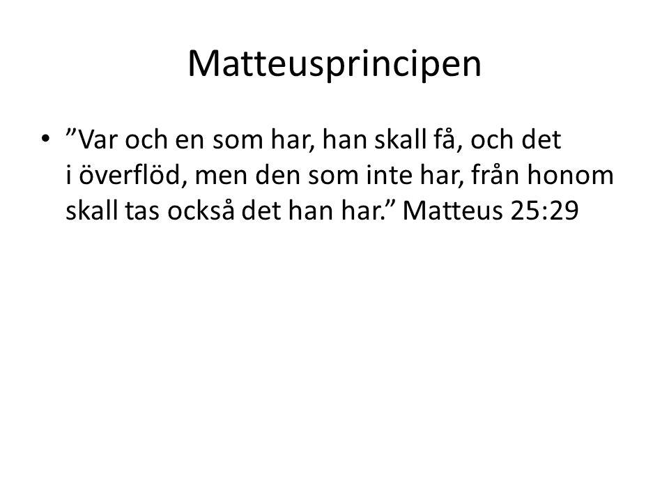 Matteusprincipen Var och en som har, han skall få, och det i överflöd, men den som inte har, från honom skall tas också det han har. Matteus 25:29.