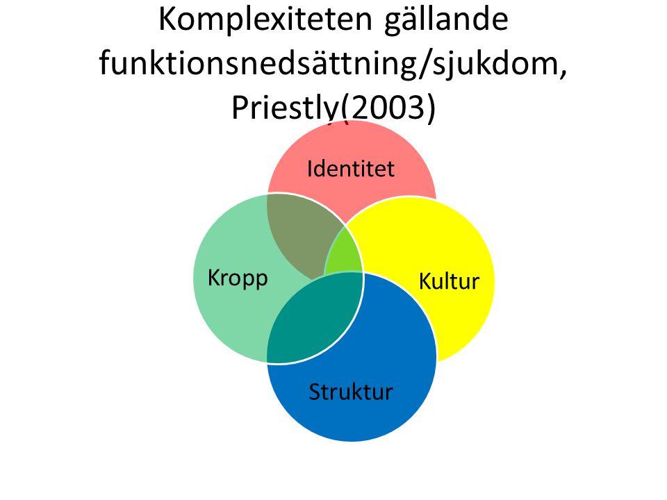 Komplexiteten gällande funktionsnedsättning/sjukdom, Priestly(2003)