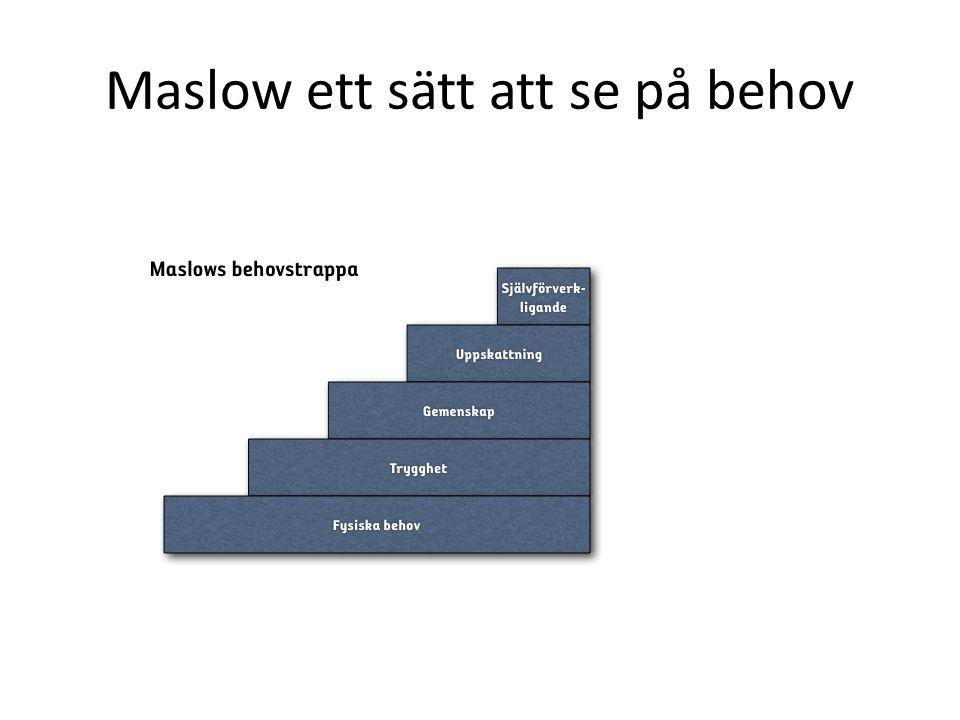 Maslow ett sätt att se på behov