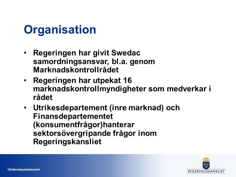 Organisation Regeringen har givit Swedac samordningsansvar, bl.a. genom Marknadskontrollrådet.