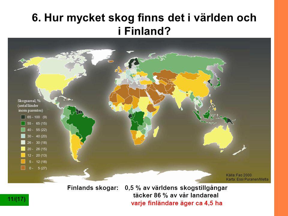 6. Hur mycket skog finns det i världen och i Finland