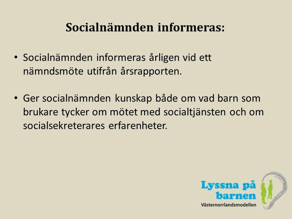 Socialnämnden informeras: