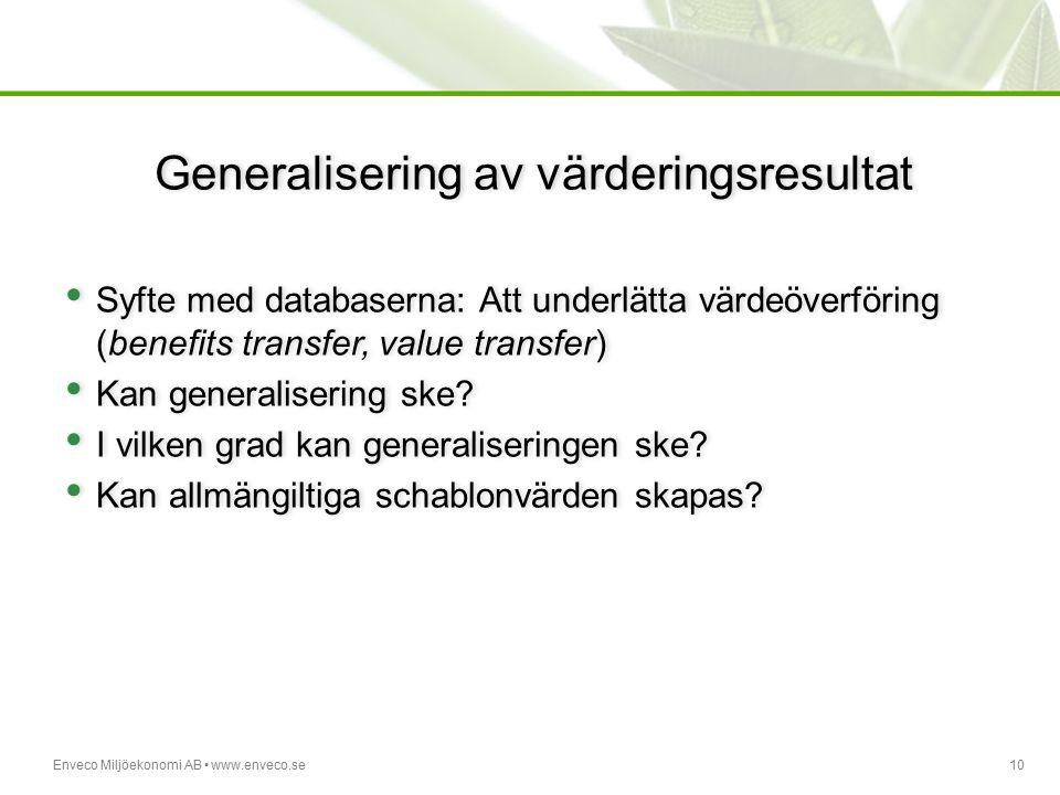 Generalisering av värderingsresultat