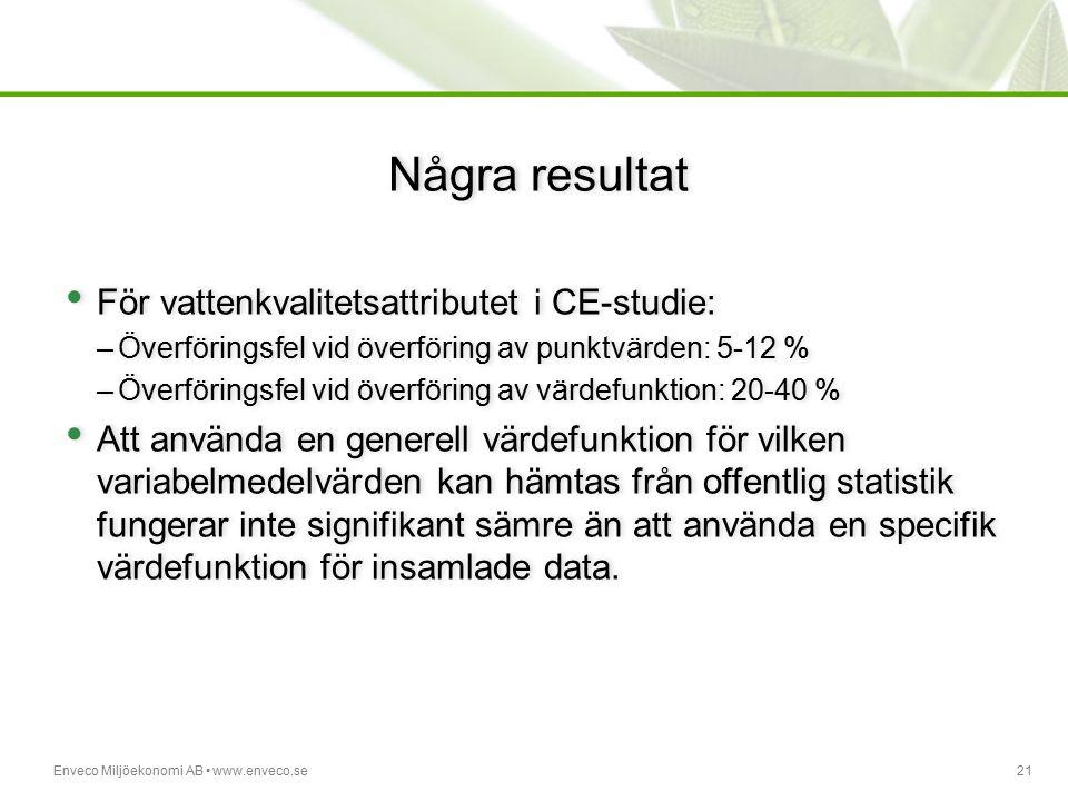 Några resultat För vattenkvalitetsattributet i CE-studie: