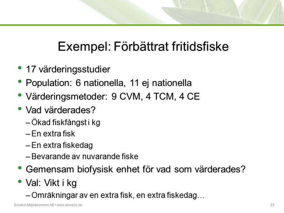 Exempel: Förbättrat fritidsfiske